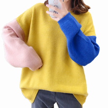 Fashion Women Autumn Pullover Sweaters Blue Yellow Gray Colour Block Patchwork Knitwear Female Loose Oversized Sweater