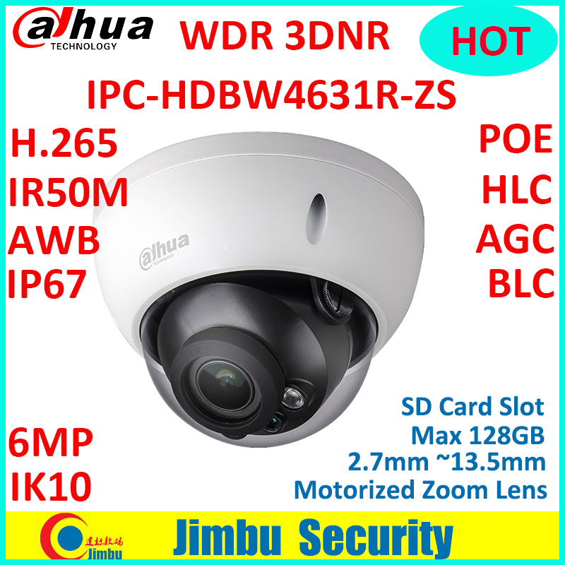 Dahua 6MP WDR 3DNR IP Camera IPC-HDBW4631R-ZS 2.7mm ~13.5mm lens IR50 POE with sd Card slot Max 128GB replace IPC-HDBW4431R-ZS dahua h 265 ip camera ipc hdbw4631r s replace ipc hdbw4431r s 6mp poe cctv camera 30m ir 1080p network camera onvif sd card slot