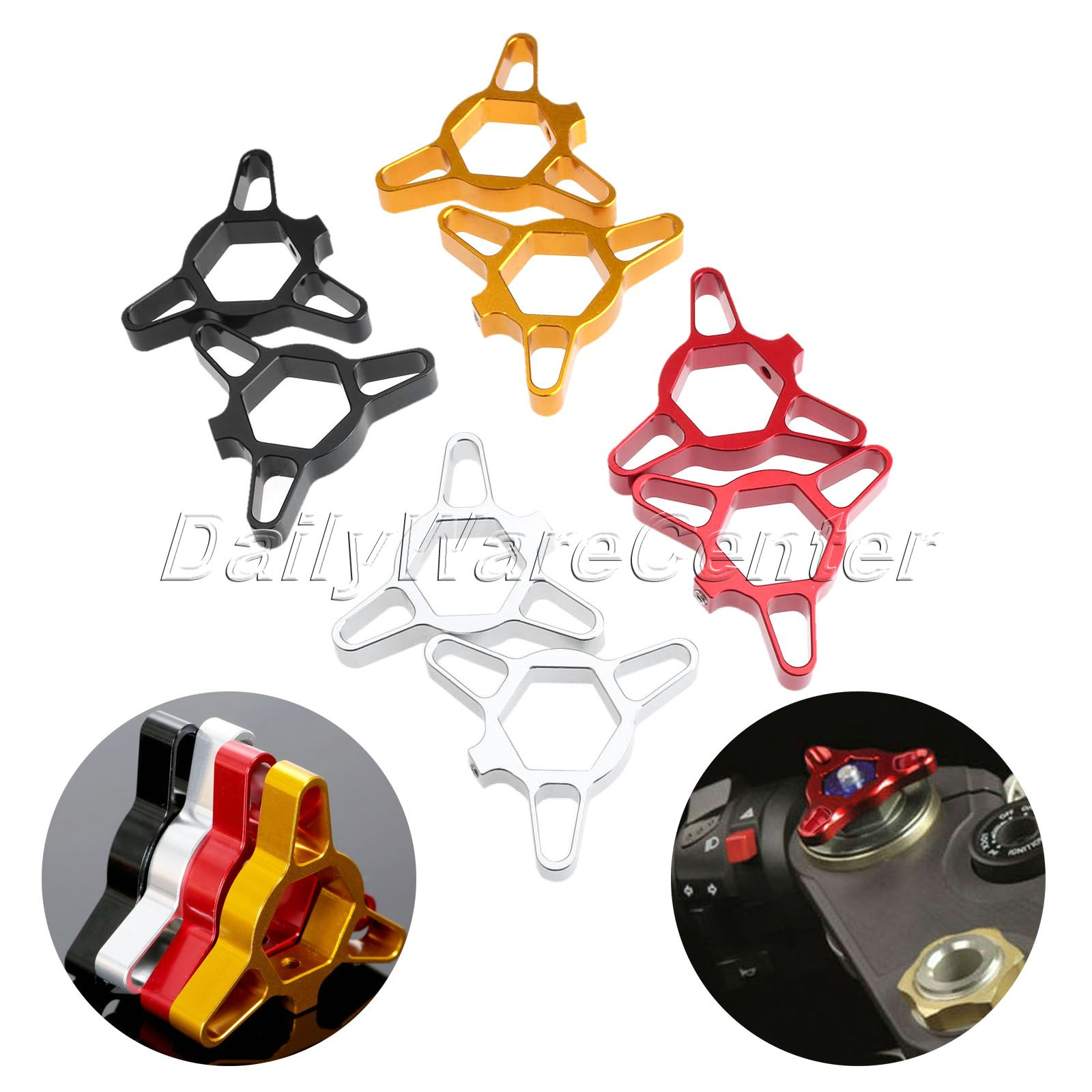 Mgoodoo 2Pc 17mm Motorcycle CNC Fork Preload Adjusters For Ducati 1198 1098 Streetfighter 696 Monster Honda CBR125 Yamaha YZF R6