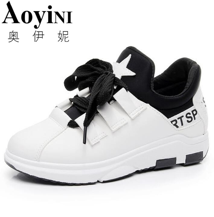 2018 Spring Leather Women's Flat Shoe Women Soft Breathable Sneakers Black White Lace Up Woman Casual Flats Female Footwear 2018 leather shoes women spring summer simple nude color female flats soft sole breathable footwear free shipping