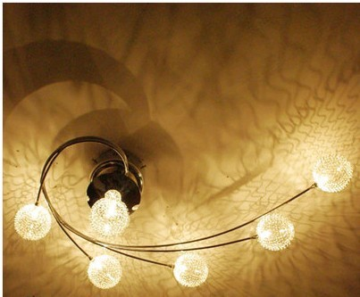 Modern 6 Lights Glass Shade W/ Aluminum Wire Ceiling Lighting Light Lamp Fixture ems free shipping ZL281