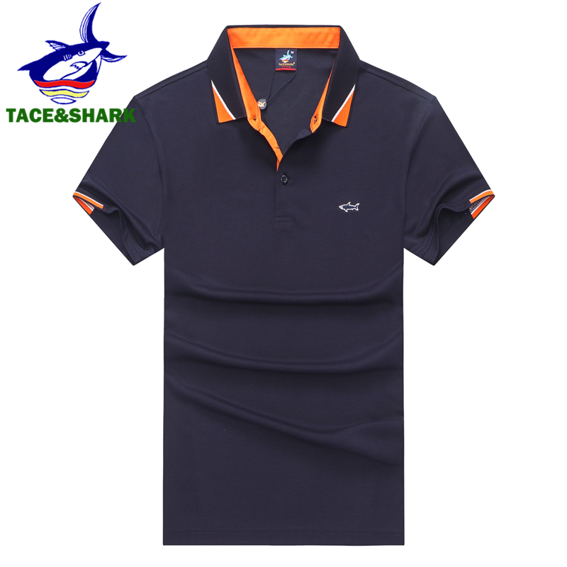 TACE&SHARK Brand Clothes 2019 Men Fashion Casual Business Camisa   Polo   Shirts Embroidery Cotton Male Shark   Polo   Homme
