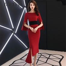 Evening Dresses Sexy O-neck 2019 Prom Long Women Party Dress Three Quarter Sleeve Slim Robe De Soiree Plus Size E470