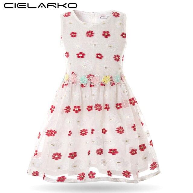 f8f64cfbd Cielarko Girl Dress Summer Baby Flower Dresses Cotton Sleeveless ...
