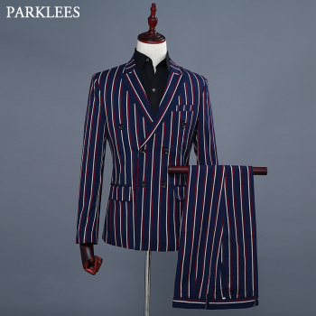 Business Double Striped Dress Suit Men Double Breasted Mens Navy Blue Blazer Jacket With Pants Grooms Singer Host DJ Suits Homme