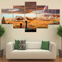 Animated Abstract desert human body Canvas Pictures Wall Art Rick And Morty Childs room Decor HD Prints Cartoon oil Paintings
