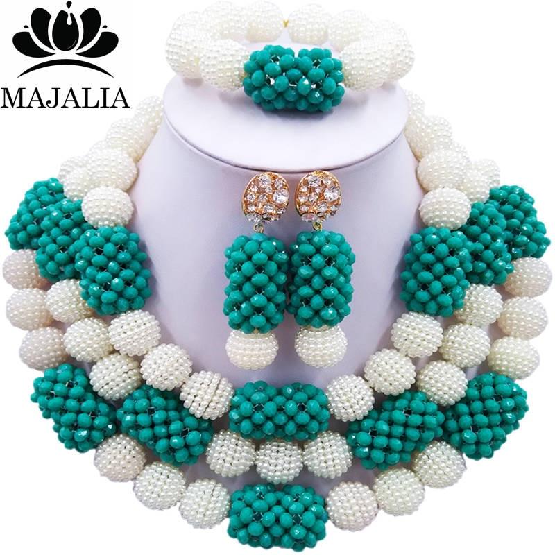 все цены на Majalia Fashion Charming Nigerian Wedding African Jewelry Set White and Teal green Crystal Necklace Bride Jewelry Sets 3SZ073 онлайн