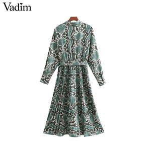 Image 2 - Vadim elegante vestido estampado de serpiente camisa patrón animal pajarita fajas cintura elástica plisada manga larga vestidos midi vestidos QB240