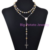 Top Hot Sell 316L Stainless Steel Mens Womens 8mm Bohemia Silver Gold Novel Chain Necklace 24