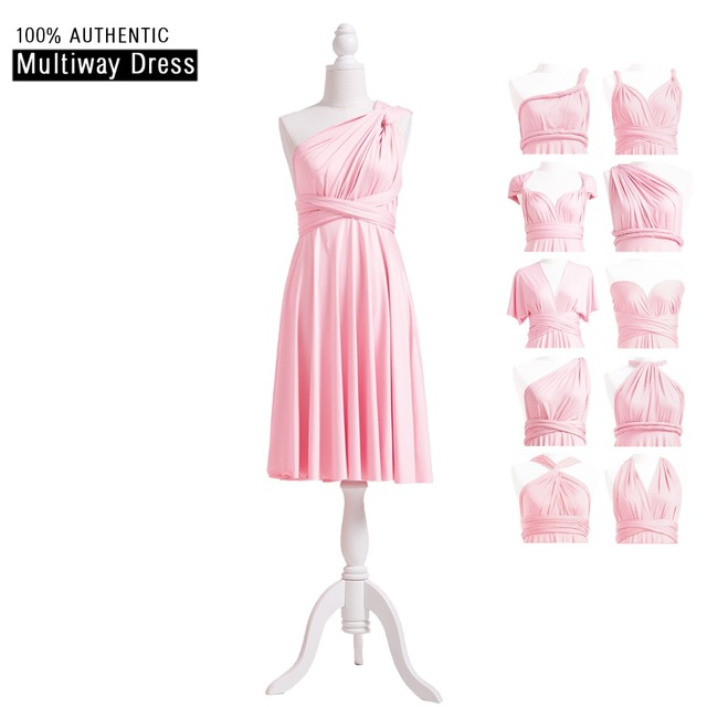 4d544b4952e Blushing Pink Bridesmaid Dress Infinity Knee Length Short Dress Light Pink  Convertible MultiWay Dress Wrap Dress With Sleeves