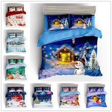 WAZIR 3D Christmas Print Bedding Set Duvet Cover Set Pillowcases Comforter Bedding Sets Home Textile Bedclothes Bed Linen(China)