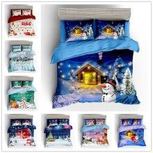 Комплект постельного белья WAZIR с 3D рождественским принтом, комплект пододеяльников, наволочки, одеяло, Комплект постельного белья, домашнее белье, постельное белье