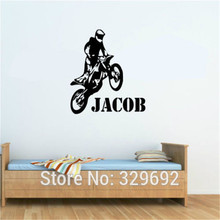 Personalised Any Name Motorbike Motocross Wall Art Wall Decal Vinyl Kids Boys Wall Sticker Paper Home Decor tx-421