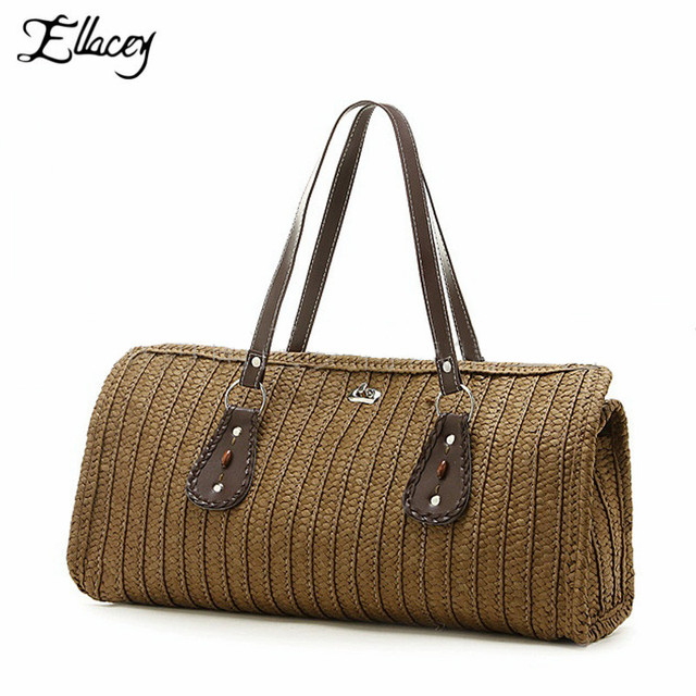 2017 Women's Straw Beach Bag High Quality Fashion Designers Handbags Beach Bags Straw Tote Shoulder Bag Women Straw Handbag
