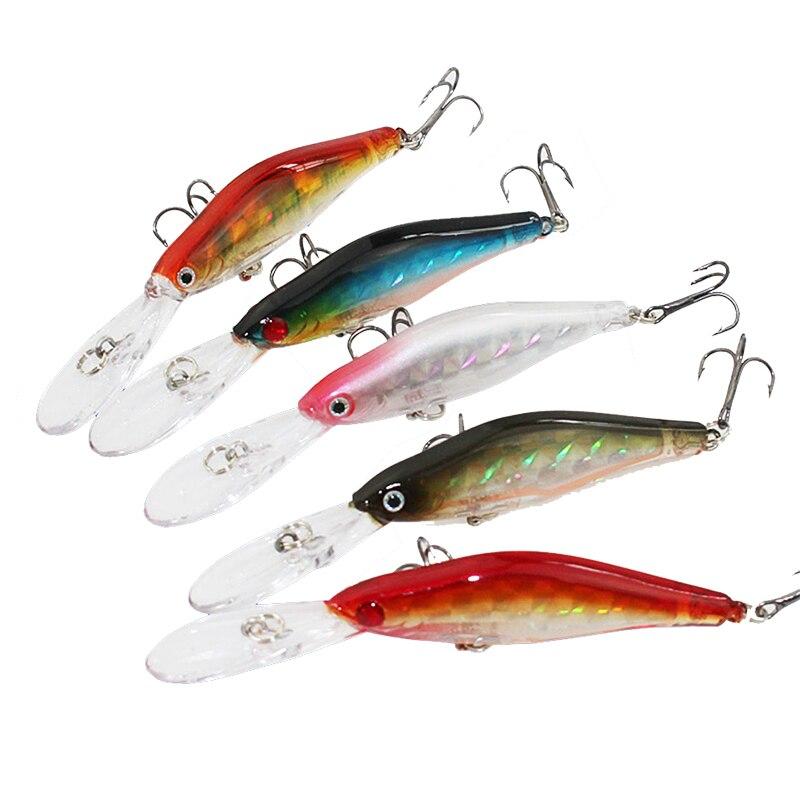5PCS/Lot High Quality 9.5cm 7g with 6# Hooks Minnow Fishing Lure Deep Diver Wobble Plastic Hard Bait Crankbait 5 Colors