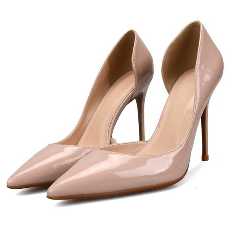 Eunice Choo Patent Leather Nude Women Pumps Cut Out Design Wedding Bridal Pumps  Slip On High edac2a048f22