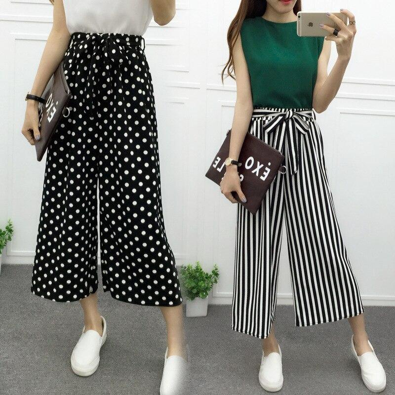 Ženy Dámské Vintage Volný Vysoký pás Dlouhé kalhoty Léto Elegantní Neformální Palazzo Dámské Proužkované Kalhoty Široké Nohavičky Kalhoty