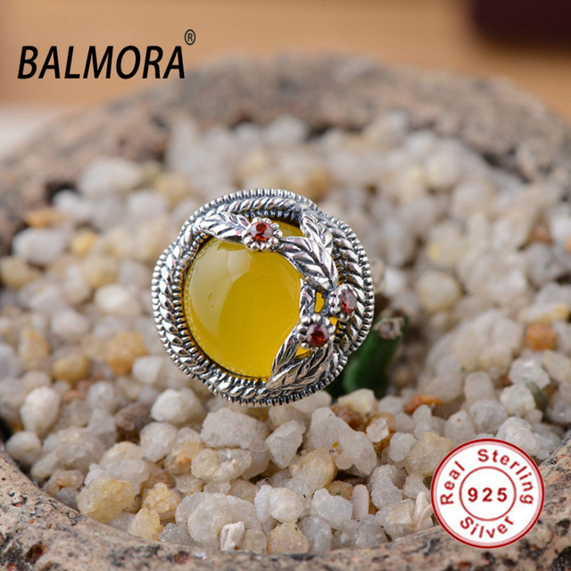 Hot 100% real pure 925 sterling silver jewelry chalcedony trendy romantic rings for women lover best gift high quality MN20654