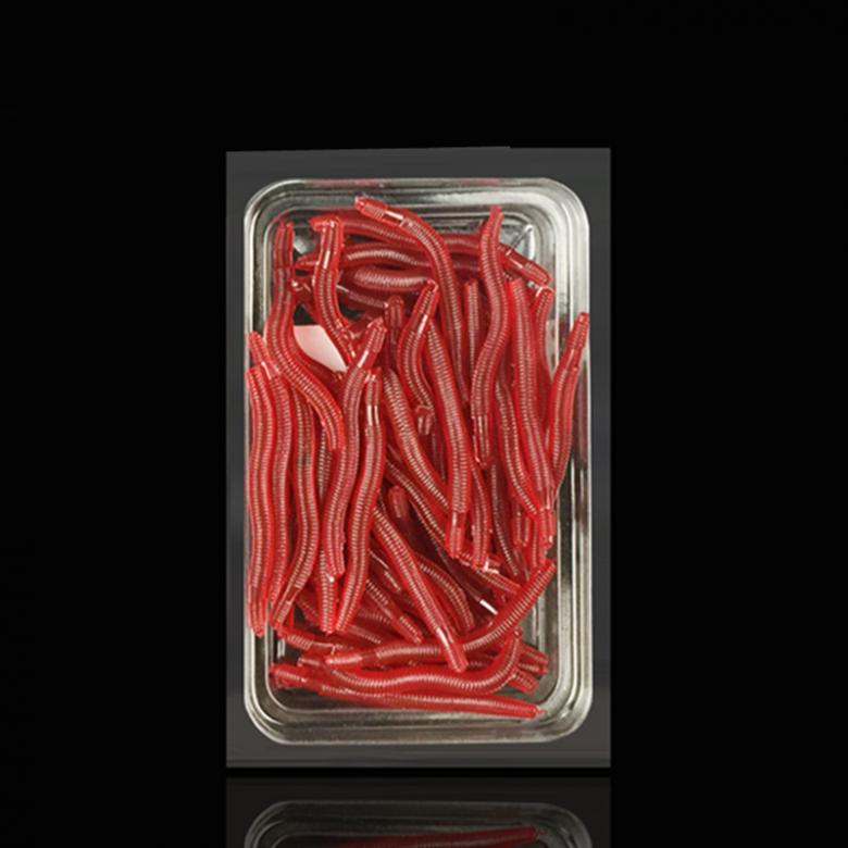 50x 35mm Simulation Earthworm Red Worms Artificial Fishing Lure Tackle Soft Bait