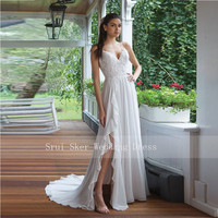 New Backless Spaghetti Strap Beach Wedding Dress Ruffled Slim A Line Chiffon Gown Bridal Dresses with Split