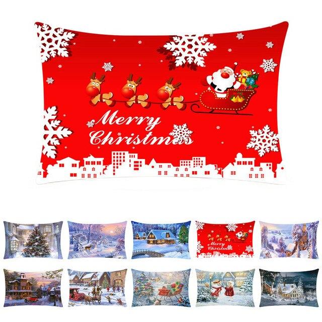 Decorazione Di Buon Natale Cuscino Custodie di Cotone di Tela Divano Fodere per Cuscini Complementi Arredo Casa Di Natale Decorazioni Per La Casa Nuovo Anno