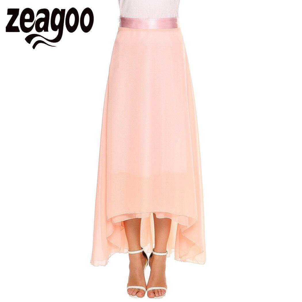 8d57e11276510 Zeagoo Women Casual Solid High Waist Side Zipper A Line Pleated Swing  Chiffon Skirt 2018 Summer Long Skirts Women Max saia -in Skirts from Women s  Clothing ...
