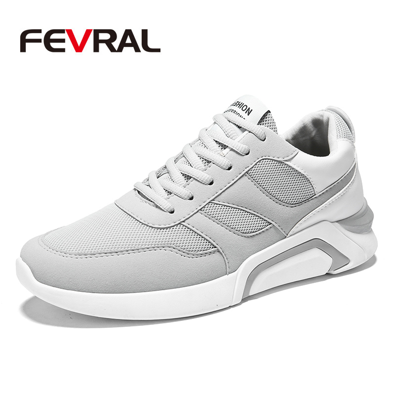 FEVRAL Men Outdoor Sport Brand Light Running Shoes Lace Up Breathable Sneakers Damping Anti Collision Comfortable Men Sneakers