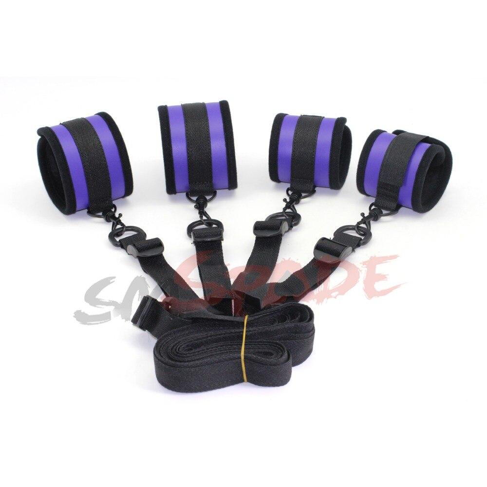 Smspade Newest Purple Pu Bedroom Restraint Kit System Under Bed Hand Ankle Cuffs Bondage Kit -8259