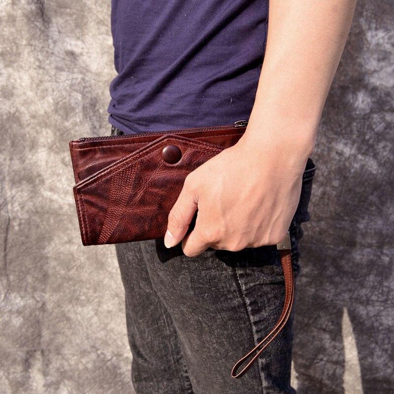 dünne Brieftasche Hand Schnalle Lange Tasche 1 Handy Kupplung Schaffell Leder Ultra Hülle Handgemachte Bjyl Männer 7qzOx00T