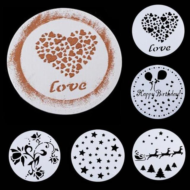 8 Inch Happy Birthday Cake Spray Pattern Shape Stencils Wedding Cake Mold Flowers Sweet Heart Coffee Decorating Tools In Baking Pastry Tools From