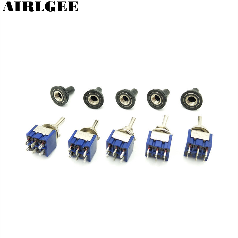 5 Pcs AC 125V 6A ON/OFF/ON 3Positon 6 Pins DPDT Toggle Switch with Waterproof Cover Cap 1 pc new red 9 pin on off on 3 position mini toggle switch ac 6a 125v 3a 250v ve521 p
