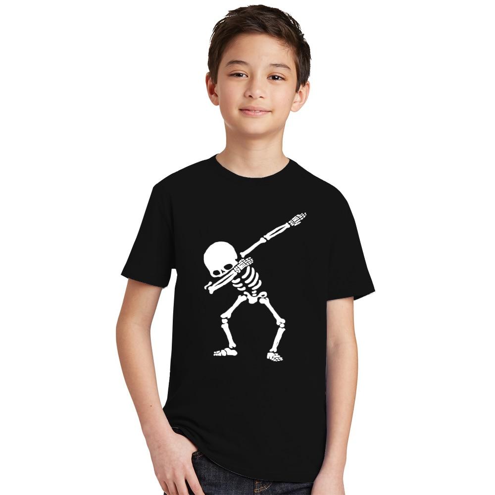 Hip Hop Dabbing Skeleton Kids T-Shirt Punk Black Shirts Children Boys Girls Funny Skull Teens T Shirts Toddler Summer Clothes