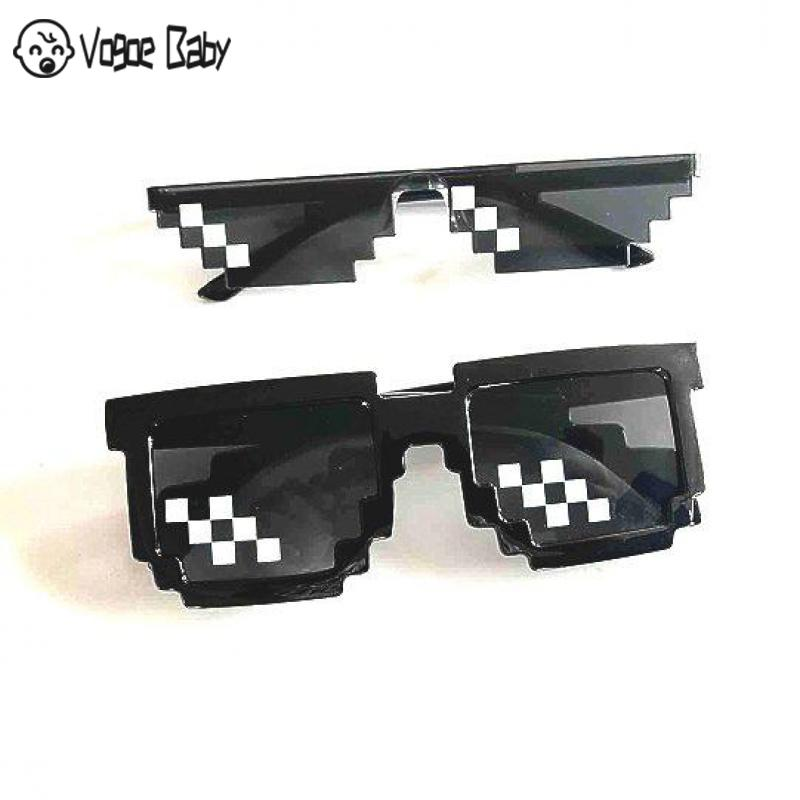 Mosaic Sunglasses Trick Toy Thug Life Glasses Deal With It Glasses Pixel Women Men Black Mosaic Sunglasses Funny Toy7479