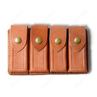 WWII Chinese KMT Army Military Leather Gear Four Cell Leather Ammo Pouch Color Brown Replica CN/104122