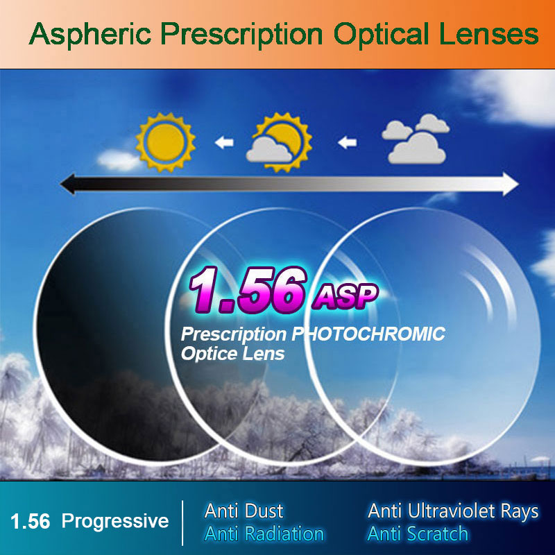1.56 Photochromic Free-Form Progressive Aspheric Optical Prescription Lenses Hurtig og dyb farvecoating Ændre ydeevne