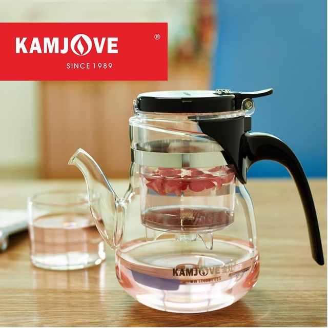 free shipping Kamjove high quality new arrival brewing device elegant tea cup flower tea pot heat-resistant glass tea set teapot