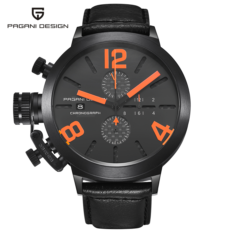 Relogio Masculino PAGANI DESIGN Black Chronograph Sport Quartz Watch Men Luxury Waterproof Auto Date Military Wrist