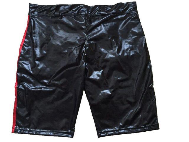 Black Faux Leather Latex Pants Short