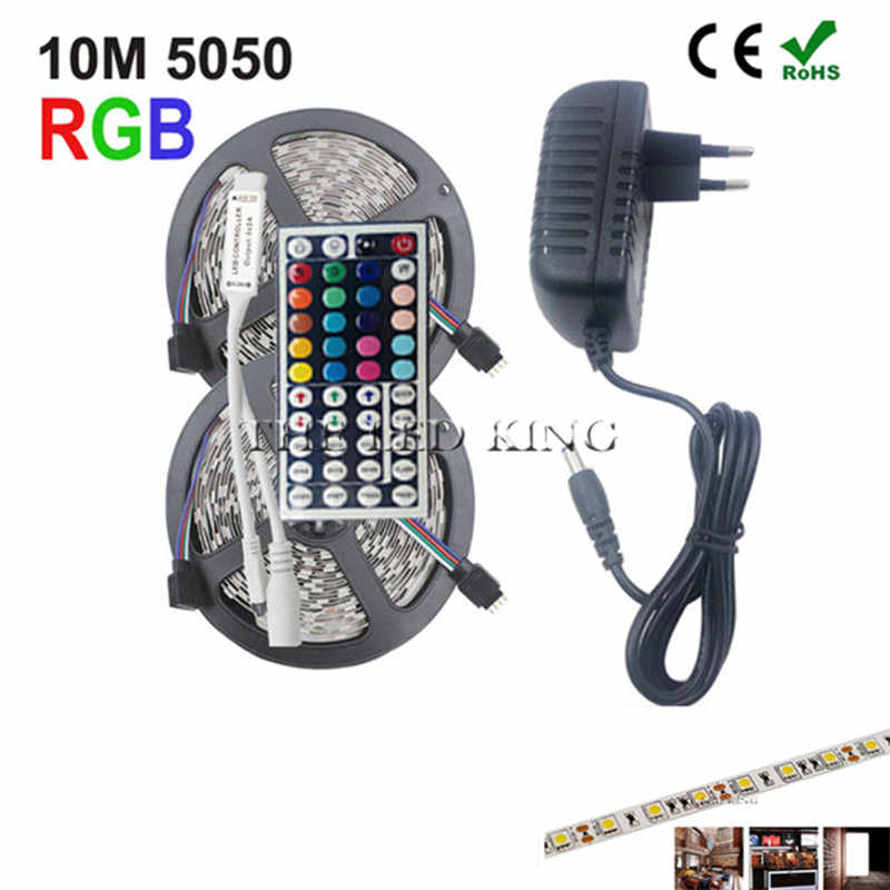 5050 RGB LED Strip Tahan Air DC 12V 5M RGBW Rgbww LED Strip Lampu Fleksibel dengan 3A Power dan remote Control