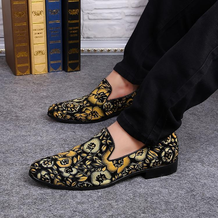 Hombres Baratos al por mayor Impresión de La Flor Zapatos Del Barco Mocasines Resbalón En Los