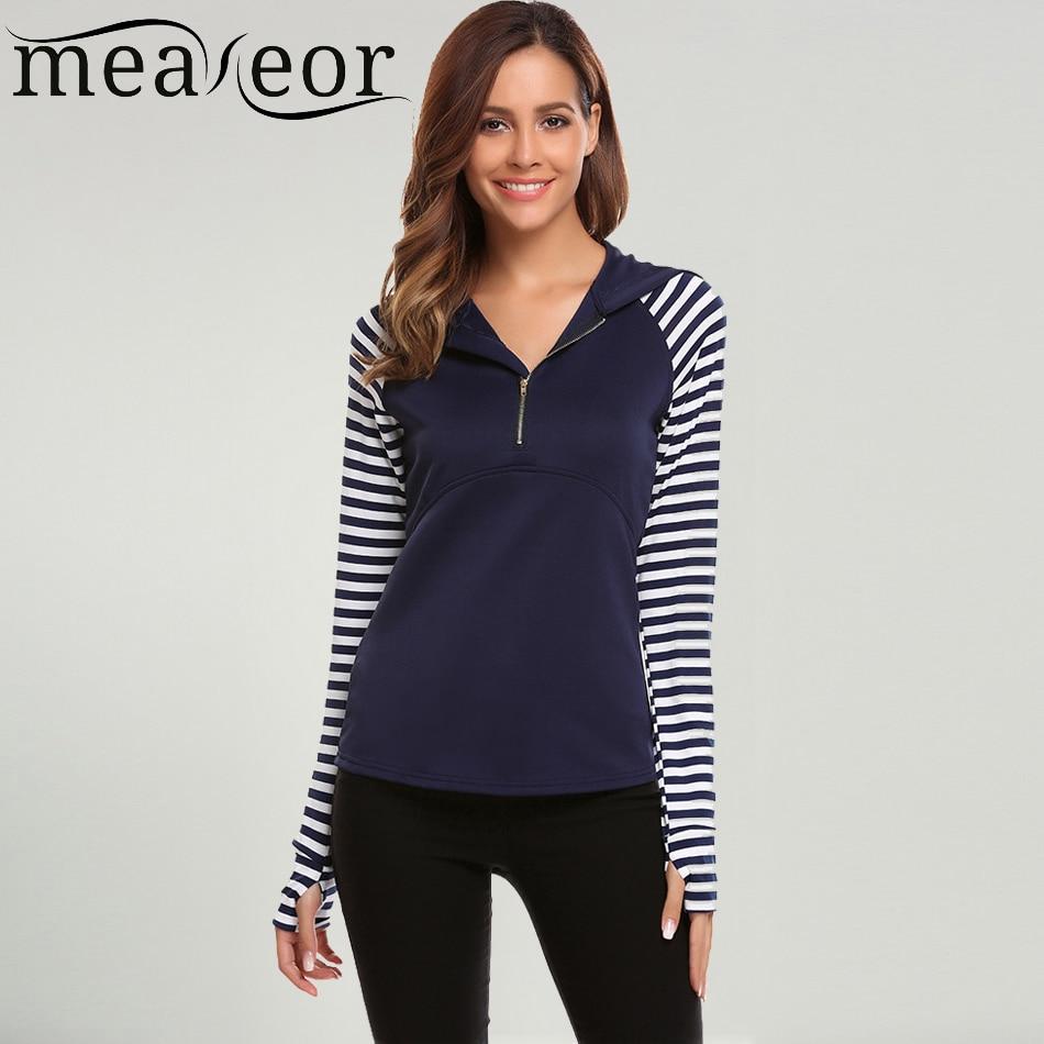 Meaneor Women Casual Sweatshirts hoodie Thumb Hole Design Striped Long Sleeve Patchwork Zipper V-Neck Hooded Slim Shirt hoody