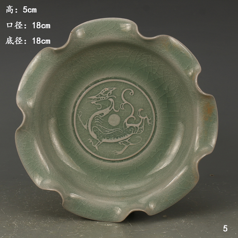 Antique SongDynasty porcelain plate,Green glaze carved phoenix plate #5,Hand painted crafts,Collection&Adornment,Free shipping