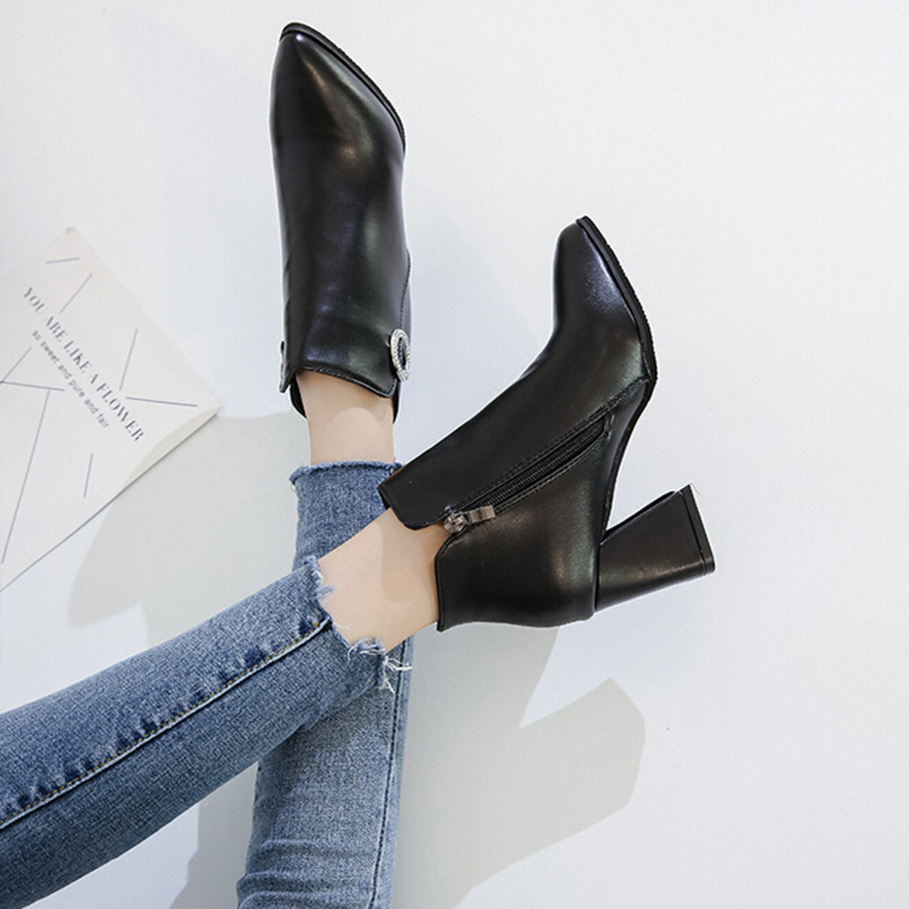 Chaussures Pointu À Cheville Mujer Botines Youyedian 2018 Cuir Bottes rouge Casual En Hauts Bout Noir Pour D'hiver Femmes Talons zxwfP