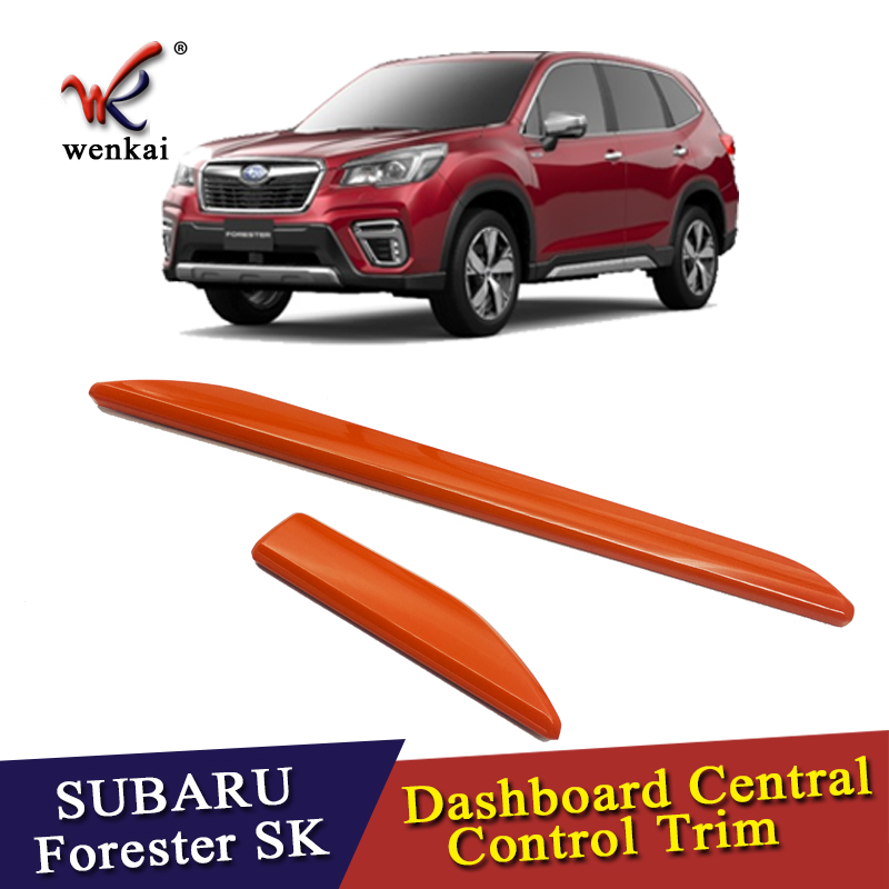 For Subaru Forester SK 2018 2019 ABS Chrome Car Interior Accessories Inner Central Control Strips Cover Trims Decoration 2pcs