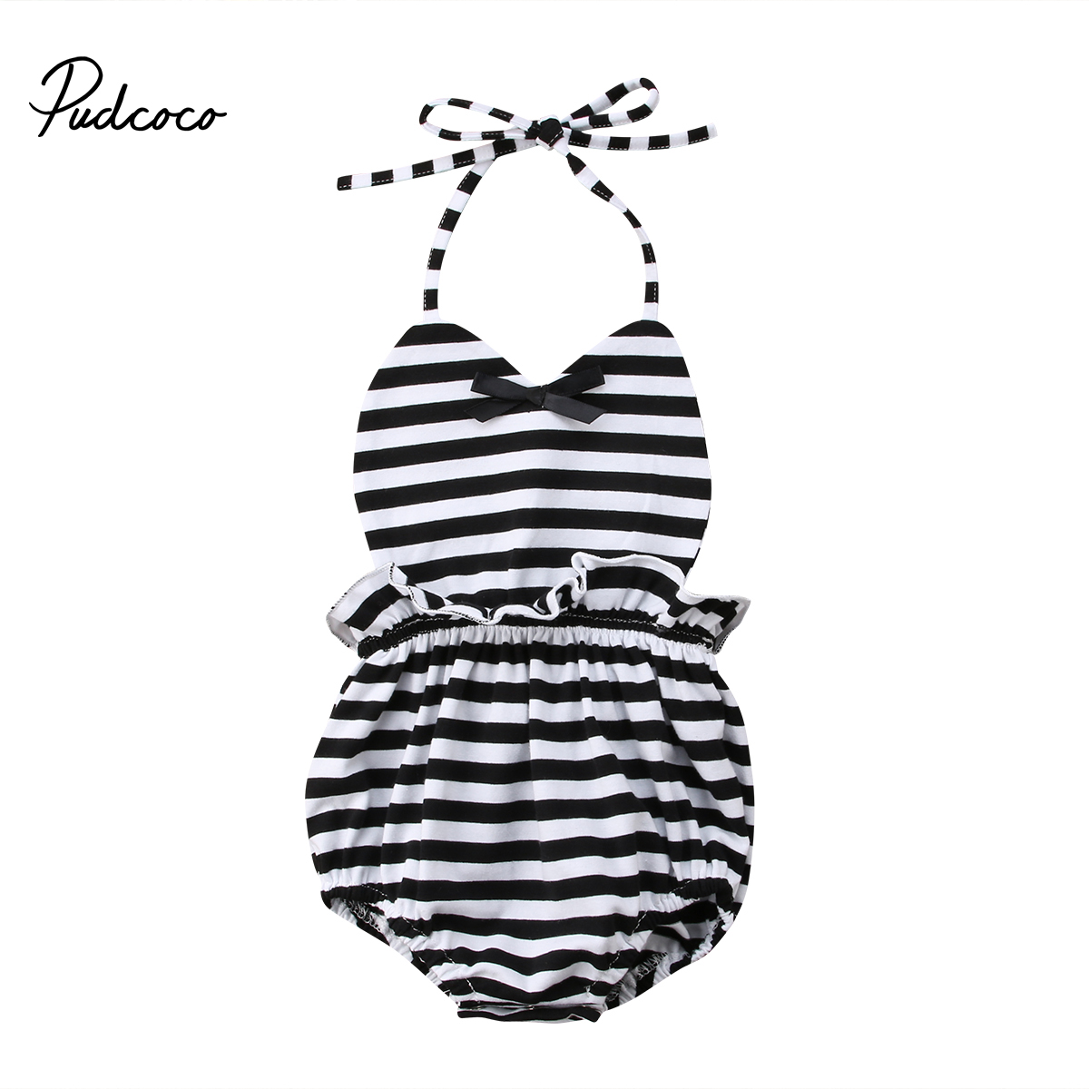 Pudcoco Newborn Baby Girl Romper Sleeveless Romper Infant Girl Jumpsuit Striped Outfits Sunsuit Clothes 2017 floral newborn baby girl clothes ruffles romper baby bodysuit headband 2pcs outfits sunsuit children set