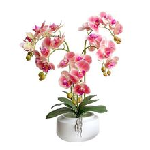 Фотография 5P PU Orchids 3D Printing Orchid Plant rtificial Real Touch Phalaenopsis 95cm for Wedding Centerpieces Table Decorative Flowers