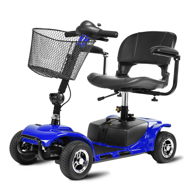 Cofoe Folding Portable Old People Electric Wheelchair Thicken Cushion Scooter Four Wheeler for the Aged the Disabled Red Blue portable cofoe yishu wheelchair full back rest folding galvanized steel scooter with pedestal pan for the aged 2018 newest