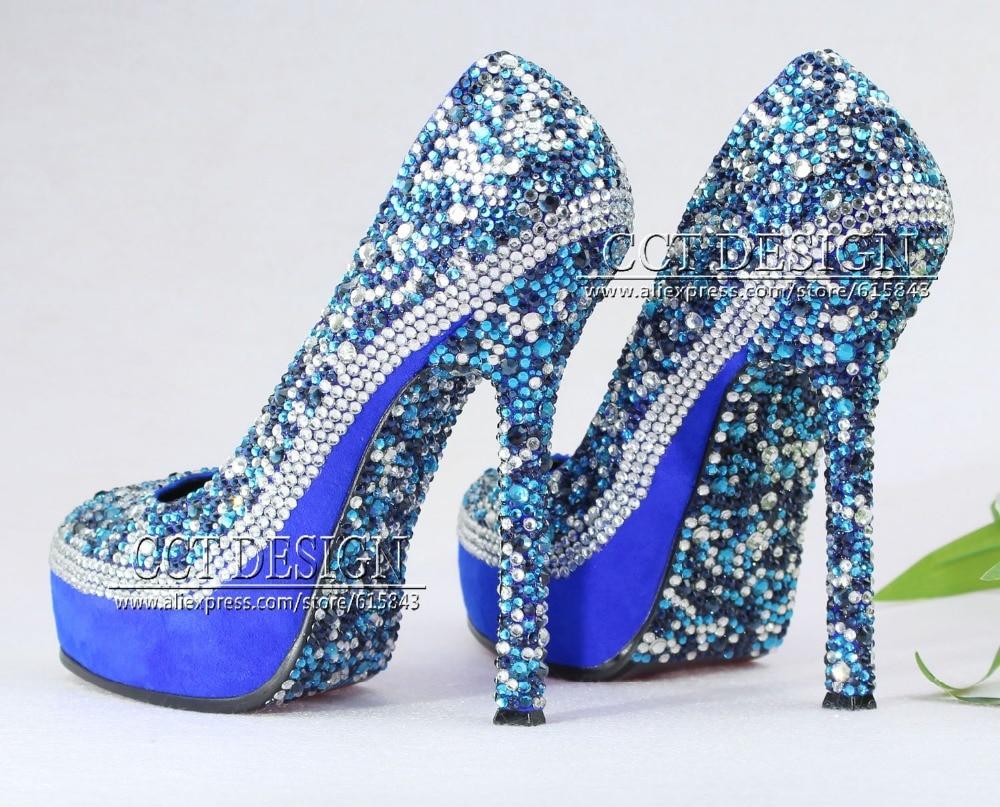2014 Fashion Royal Blue Crystal Rhinestone Satin Wedding