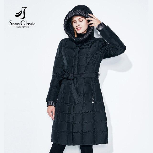 Snowclassic весенняя куртка женщин зимнее пальто женщин теплая одежда мода большой размер Средние-длинные роскошные зимние пальто толстые Slim Solid