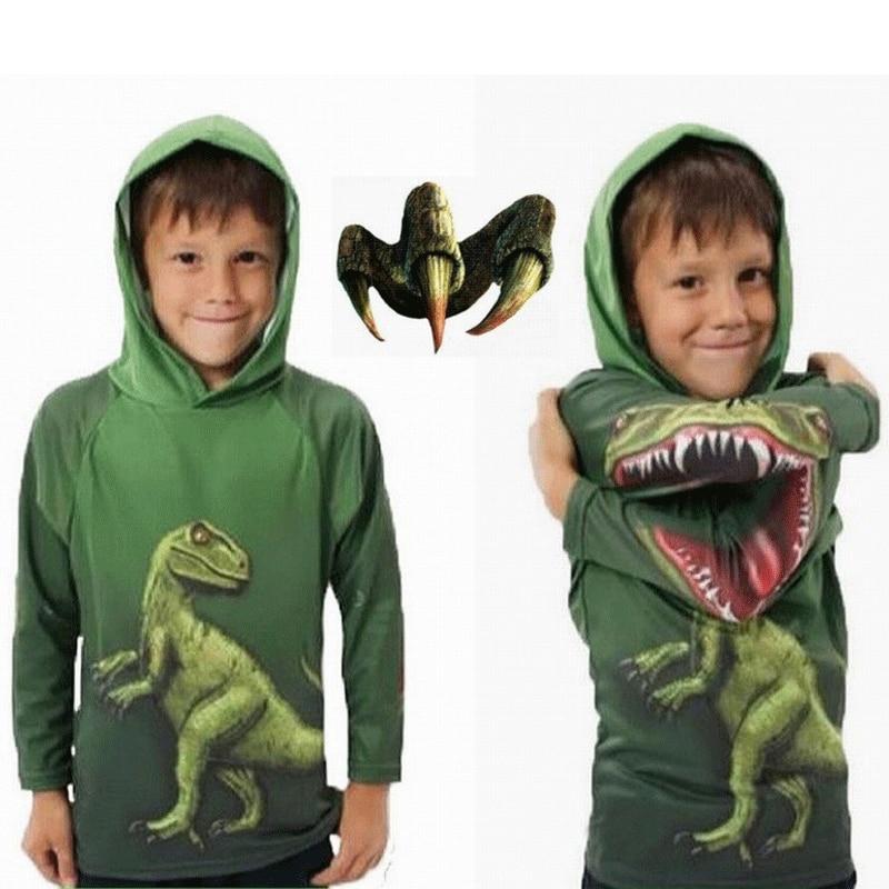 Jurassic World Boys Dinosaur T-Shirt Spring and Autumn Children Hooded Long Sleeve Sweater Kids Top Clothes 100% Cotton Hoodie bracelet